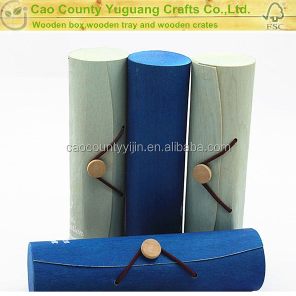 Cylinder shaped birch veneer packaging box wooden with laser hollow