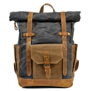 Waterproof leather canvas backpack large capacity men wear batik cloth and retro bags wholesale backpack fashion