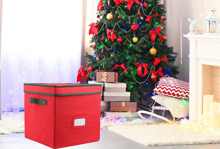 holiday storage red foldable christmas ornament storage box with lid