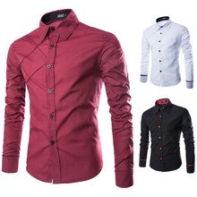100% Cotton Fabric Button Down Collar Slim Fit Dress Shirts For Morocco Men
