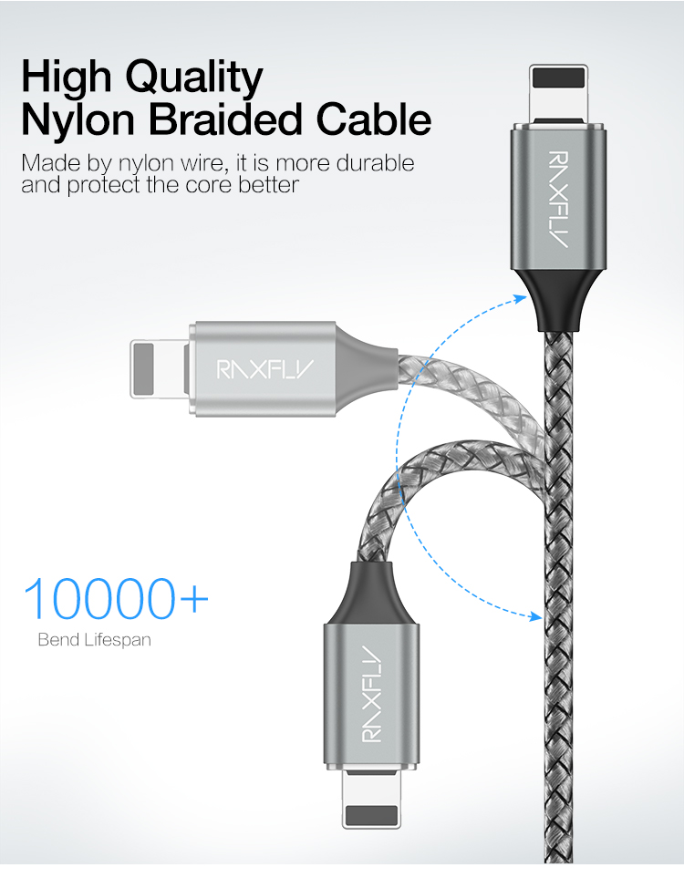 Free Shipping RAXFLY 2.1A Micro Usb Type C Nylon Braided Magnetic Phone Charger Cable For iPhone
