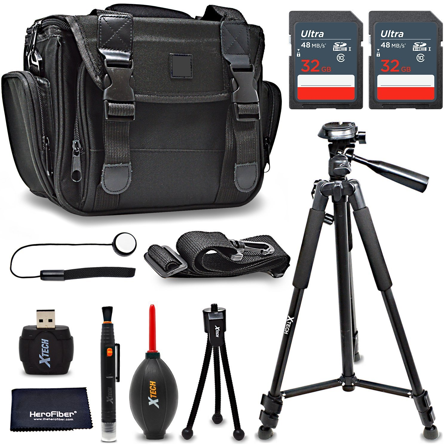 Deluxe Accessories Bundle / Kit for Fujifilm X-T2, X-PRO2, GFX 50S, X100F, X-T1 IR, X-T1, X-T20, X-T10, X-E2S, X-A3, X70, X-A10, X-A2, XQ2 - includes 64GB Memory, Deluxe Camera Case, Tripod + More