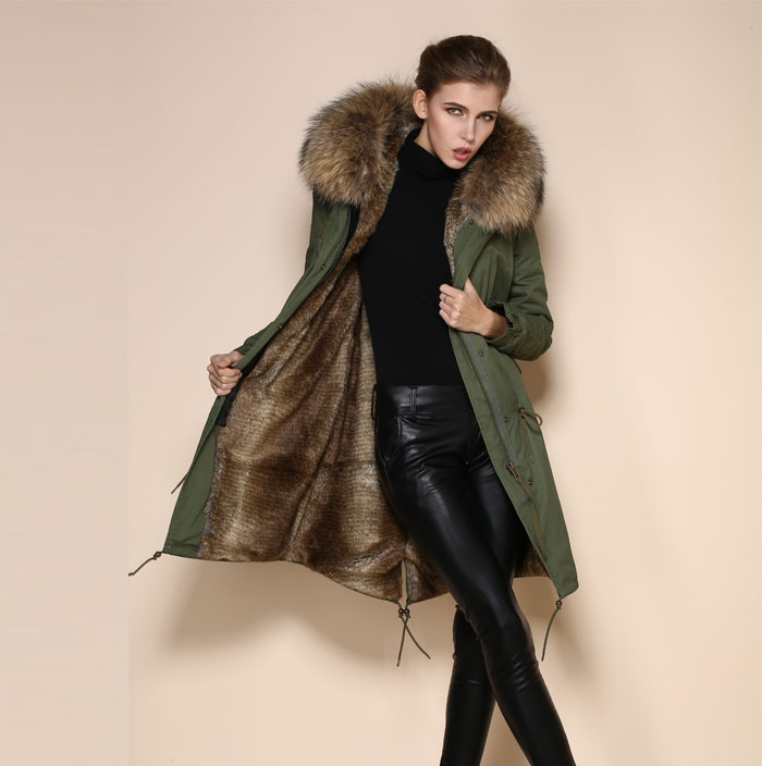 High Quality Fashion Natural Color Fur Parka Brown Italian