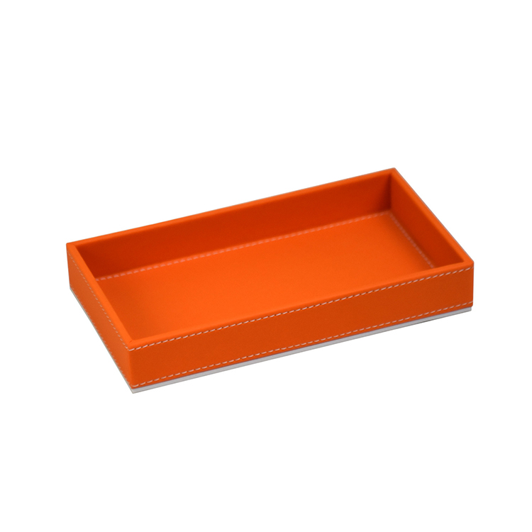 Cheap customizable luxury hotel amenity tray pu faux leather serving tray
