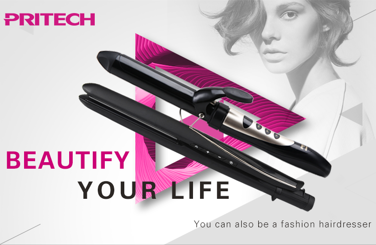 PRITECH LCD display 7 Temperature control Flat Iron Private Label  Electric Ceramic Fast Hair Straightener