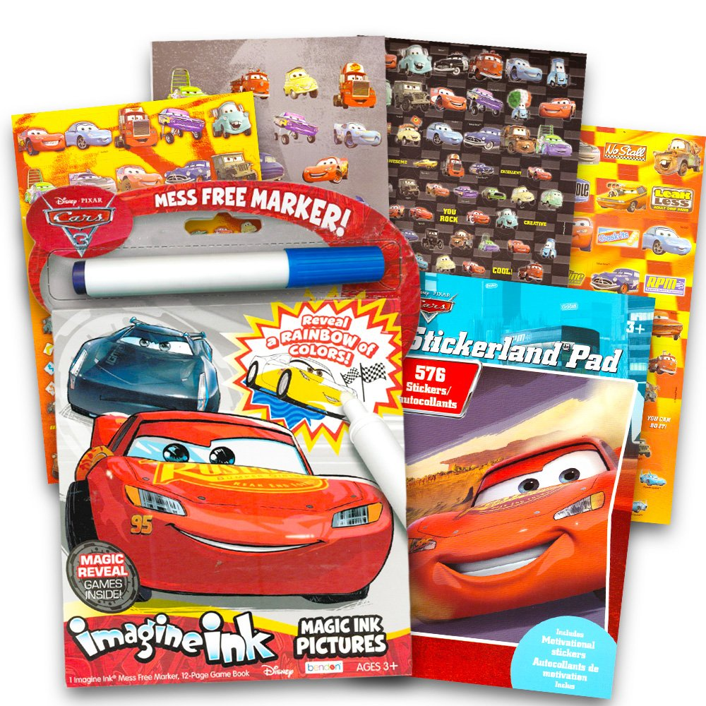 Disney Cars No Mess Coloring Set for Toddlers Kids -- Mess Free Coloring Book with Magic Pen and Over 500 Disney Cars Stickers (No Mess Art)