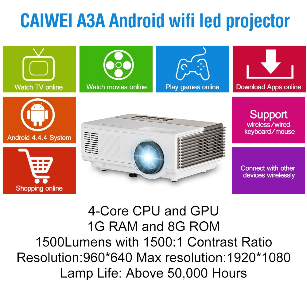 1500 Lumen Mini LED Projector USB/HDMI/VGA Interface Ideal for Movie Night projector