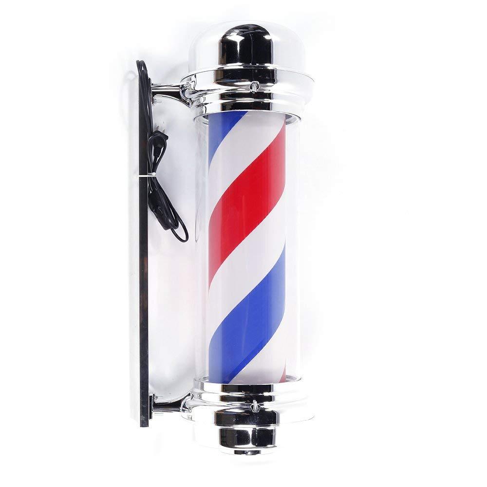 "Teekland 28"" Barber Rotating LED Light Hair Salon Pole Shop Sign Rotating Red White Blue Light"