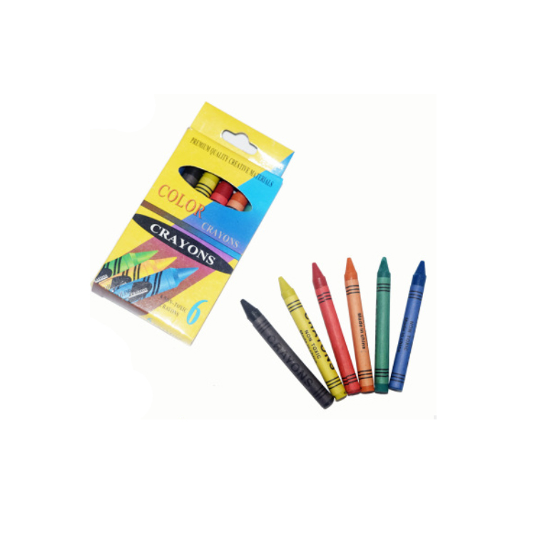 Kids 6 Crayon Pack Wax Crayon Box Drawing Crayons Set