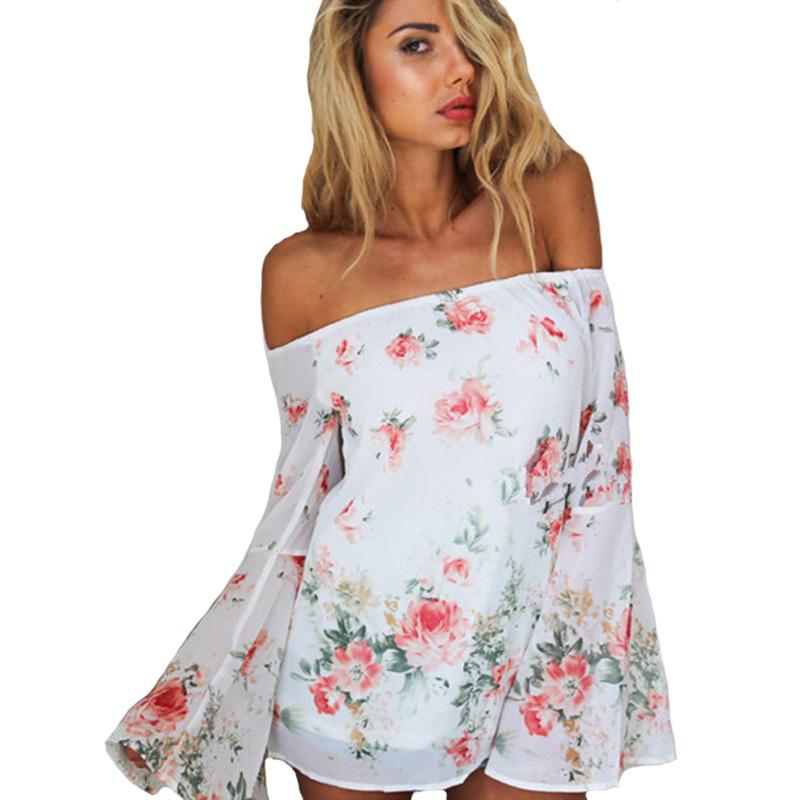 2797e3451e1 Get Quotations · Off The Shoulder Tops For Women 2015 Camisa Feminina  Chiffon Flower Blouses Boho Shirts Blusa Feminina