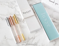 Rose Gold Silver Pen with Rose Gold Silver Cap - 3 Fine Ballpoint Crystal Pens in Glossy White Gift Box | Gifts for Women