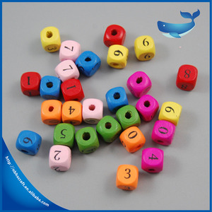 Wooden square beads , wooden DIY bead number beads square shape