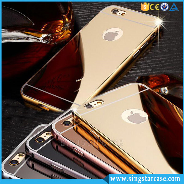 Hot Selling Customized Waterproof Luxury Aluminum Bumper Electroplating Mirror Back Cover Mobile Phone Case for iPhone 6 6s Plus