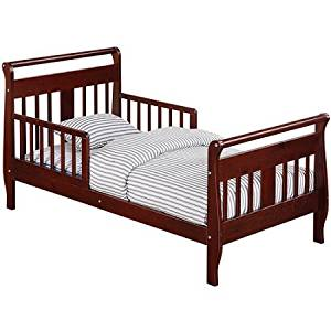 Baby Relax Sleigh Toddler Bed | 2 Side Rails for Added Safety - Cherry