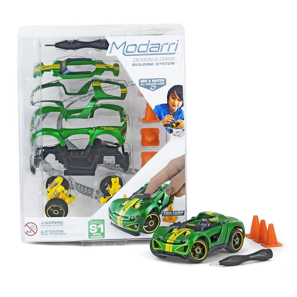 Modarri S1 Supercharger Green | STEM Educational Toy Cars | Make a model car - Design your own working race cars | Fun and Functional Building Toys for kids | Girls and Boys Gifts Age 5-10