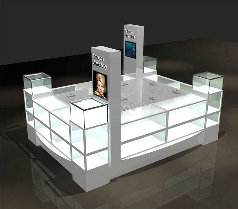 High quality shopping mall wooden jewelry display kiosk