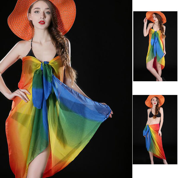 Custom cheap lady chiffon beach swimsuit cover ups