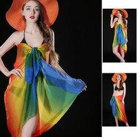 Custom cheap lady chiffon beach swimsuit cover ups