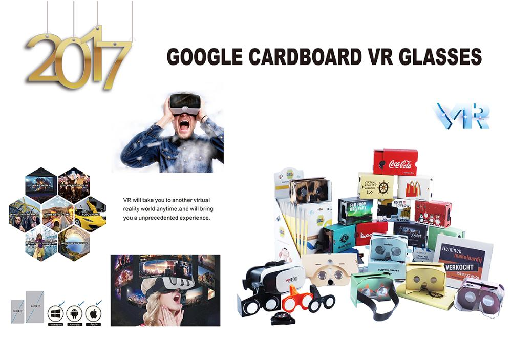 2017 Branded virtual reality glasses V1.0 cardboard google DIY Cardboard 3D VR Goggles