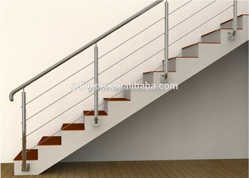 Side Mounted Stair Balcony Railing Design Stainless Steel Rod Barade