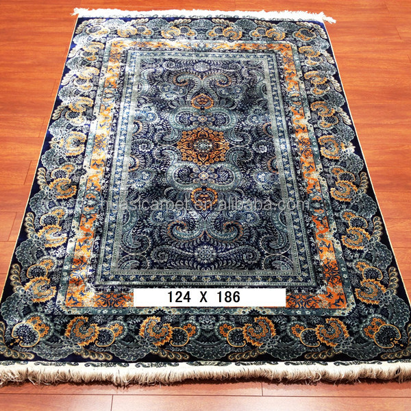 Huasi factory persian classic design 260 lines silk on silk handmade turkey silk carpet