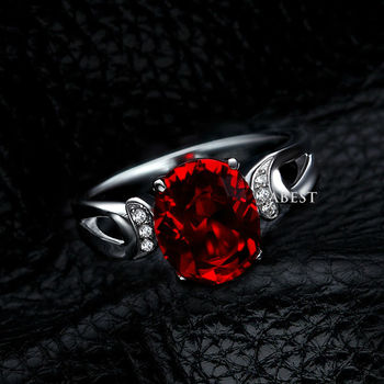 Oval-Cut Lab-Created 2 Ruby Charming Vintage-Style Ring in Sterling 925 Silver