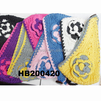 Women Flower Crochet Headband Plain Cable Free Knitted Headband