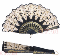Black Spanish Style Lace Folding Hand Held Flower Fan For Dance Party Wedding