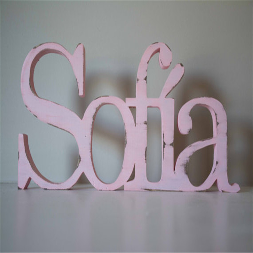 2017 new sign baby sofiia name wood letter for bbaby gift