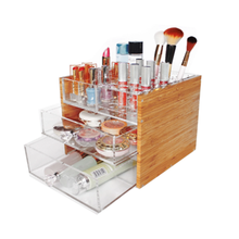 Hohe Qualität Antike Multi-Funktion <span class=keywords><strong>Lippenstift</strong></span> Acryl Halter 3 Tier Bambus Schublade Make-Up Lagerung Box