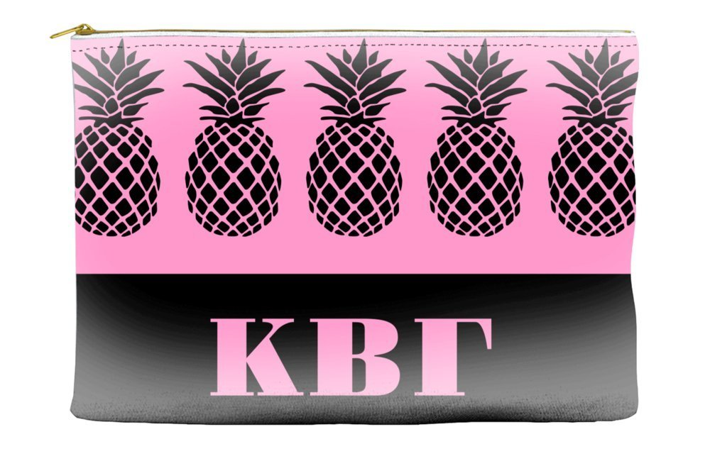 Kappa Beta Gamma Pineapple Pattern Pink Cosmetic Accessory Pouch Bag for Makeup Jewelry & other Essentials