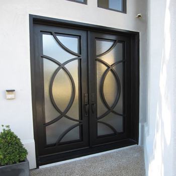 Superbe Square Wrought Iron Single Door Design Grill Door Iron Front Exterior Doors  With Laminated Glass