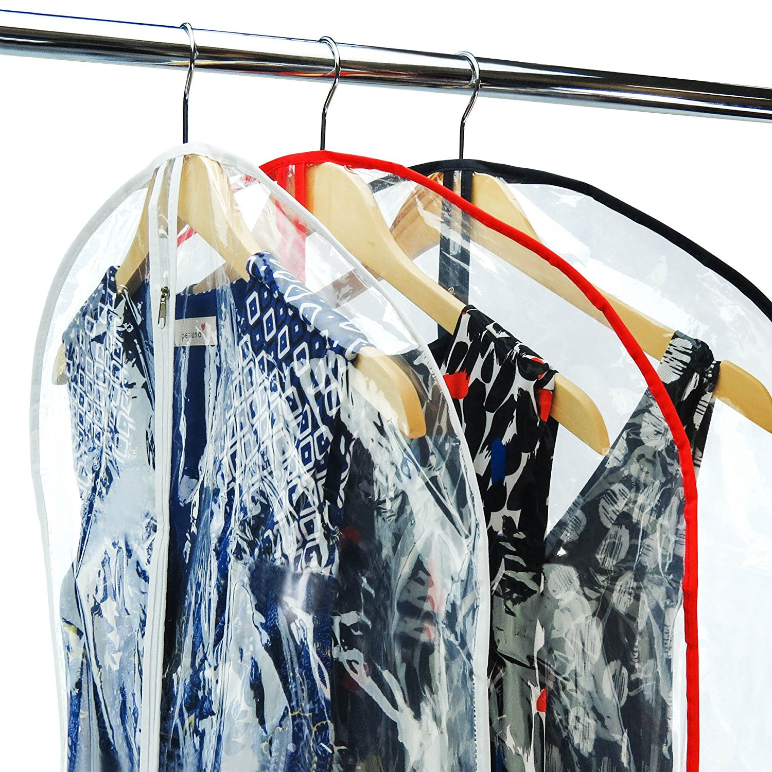 eco-friendly custom reusable waterproof pvc clear garment bags with pockets