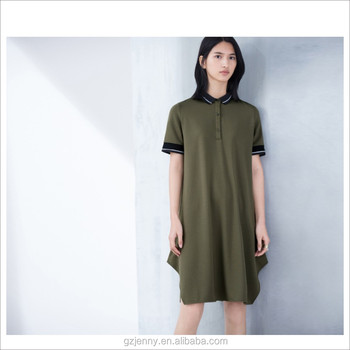 7d3f6d5181d8 New Season Women Cotton Army Green Short Sleeve Shirt Dress Polo Dress