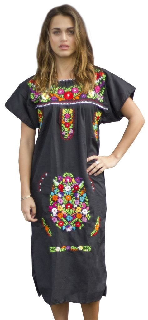 030b55b14dc Get Quotations · Liliana Cruz Embroidered Mexican Peasant Dress (Black Size  2X)