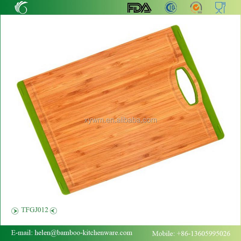 TFGJ012/Bamboo cutting board with silicone hang ring silicone cutting board bamboo material