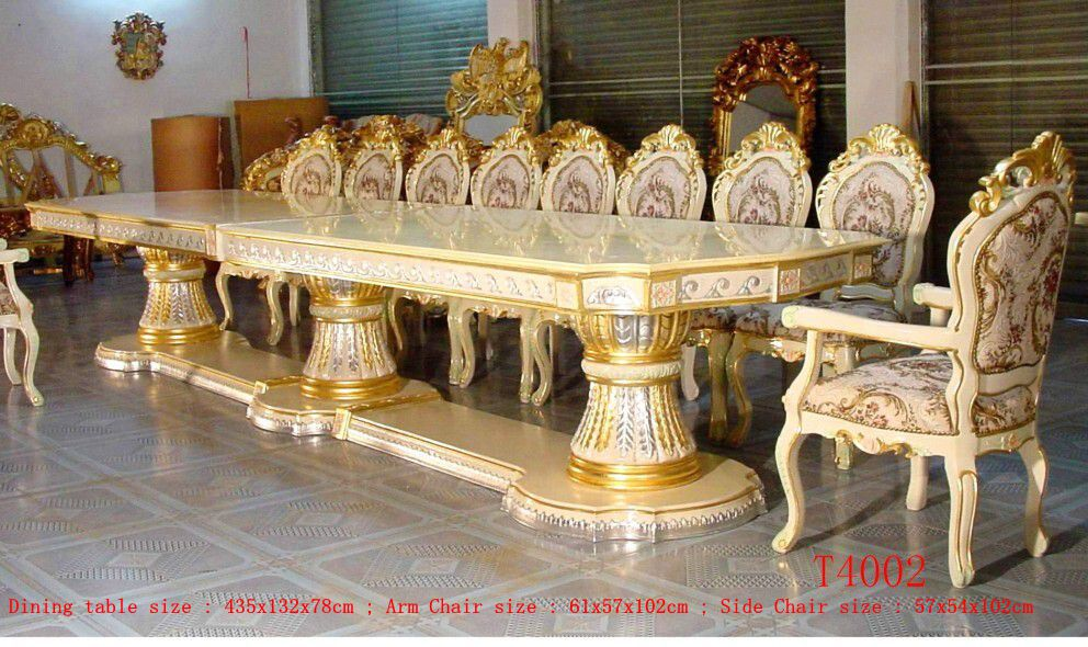 Royal Palace 435cm Silver Gold Gilded Carved Long Big Luxury Dining Table With Two Side Carved