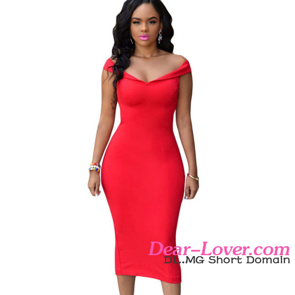 New Fashion Red Off The Shoulder Bodycon Midi Dress Pictures Semi