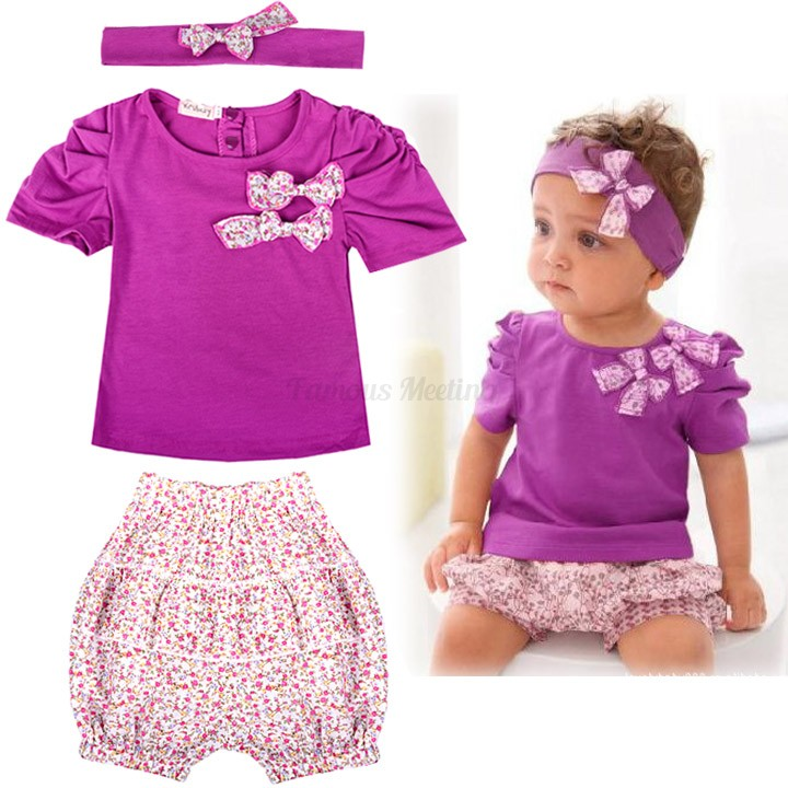0e0774682668 Buy 2015 Baby Clothes cotton Baby Clothing Set Purple baby girl 3-piece set  bowknot headband + shirt + floral printed shorts 29 in Cheap Price on  Alibaba. ...