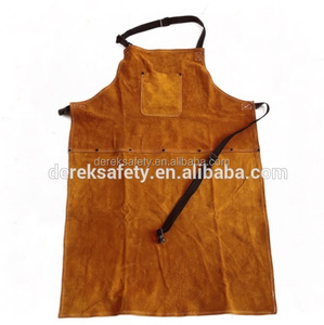 Yellow Split Cow Leather Welding Cape Sleeves With Detachable Leather Bib Welding Apron