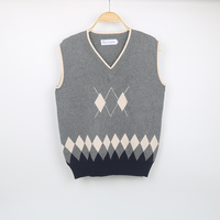 Custom sleeveless uniform school knit vest pattern sweater Adult Vest
