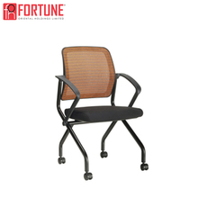 Popular promotion folding brown training task chair with wheels