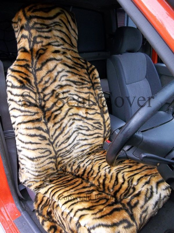 Gold Tiger Faux Fur Car Seat Covers