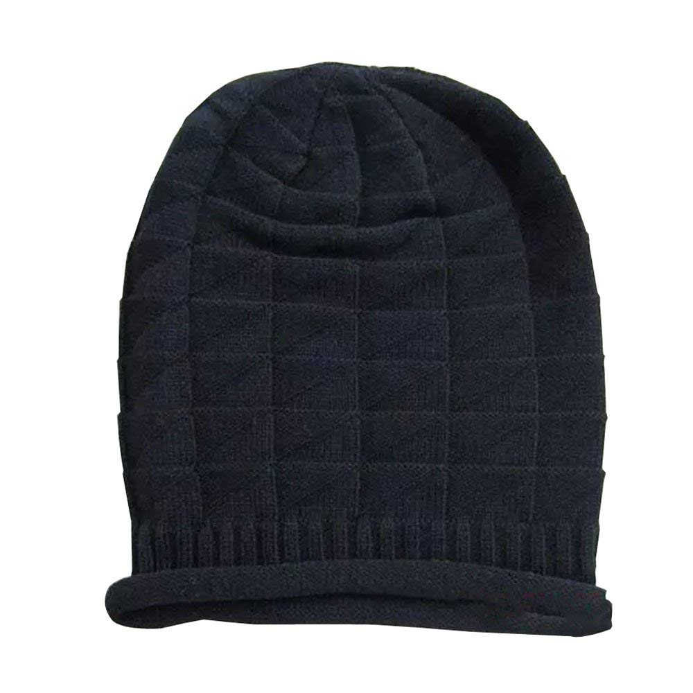 65b35d22e4e Get Quotations · HuaYang Fashion Unisex Autumn Winter Warm Folded Knitted  Cap Baggy Hat Hooded Earflaps(Black)