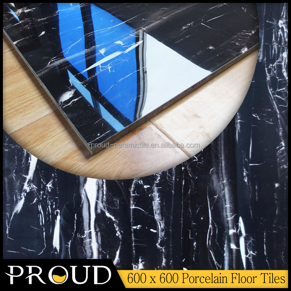 Factory Cheap Nylon Cover Gloss Black Full Glazed Polished Porcelain Floor Tiles 60 x 60