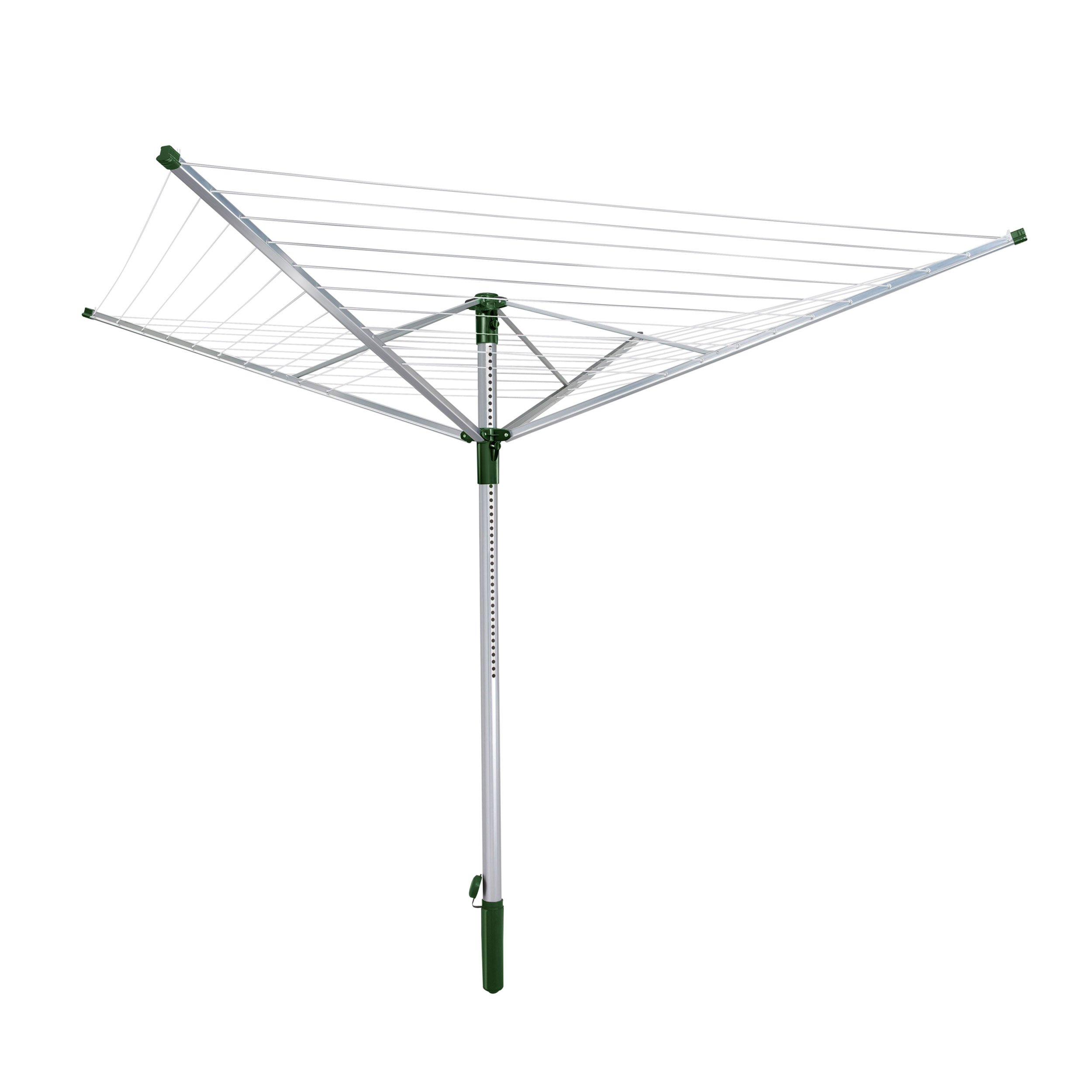Leifheit Rotary Clothesline Lino Lift 500 Opal Green with Protective Cover, Rotary Dryer, Clothes Drying Rack Clothes Horse, Green, 85356