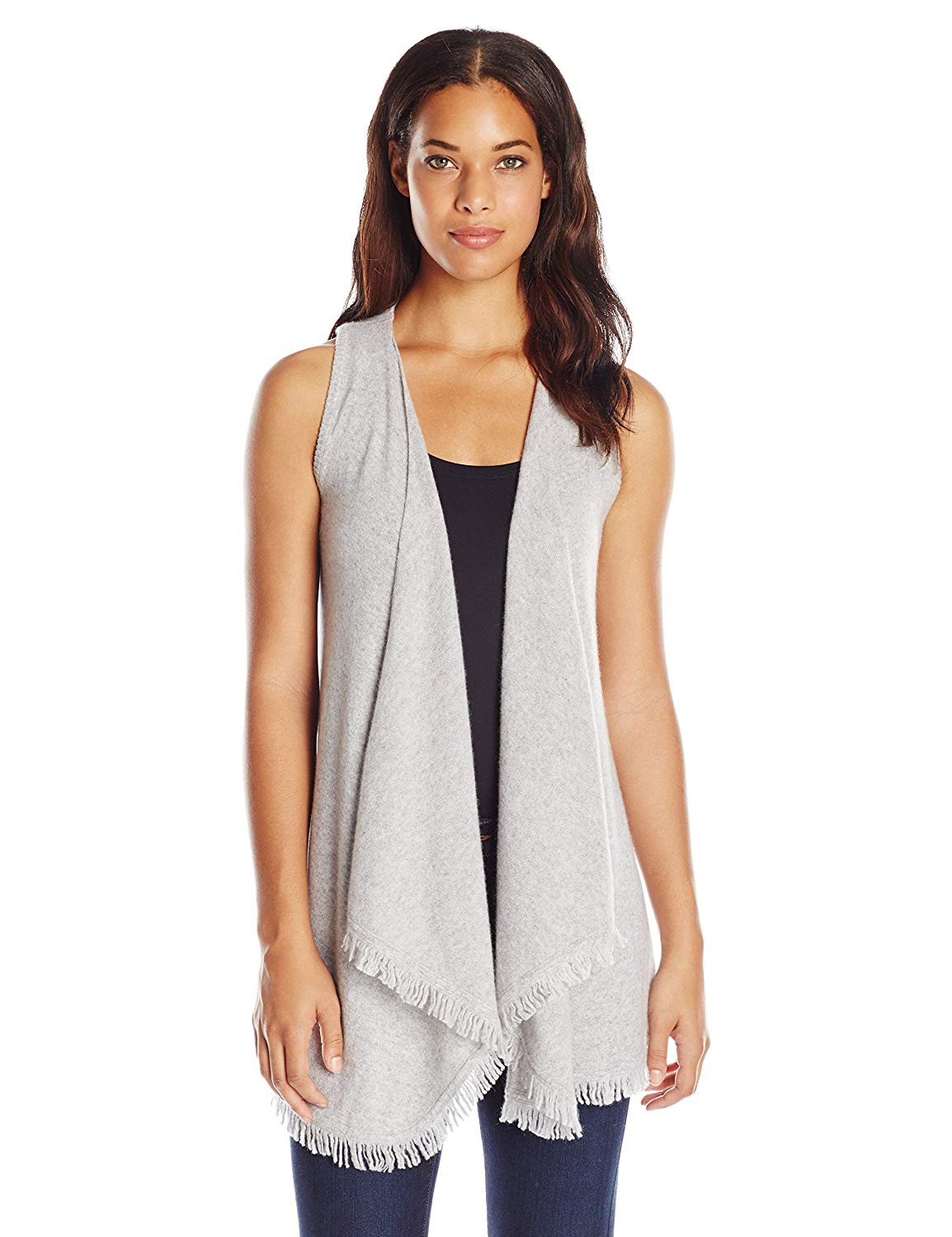 d23e6469846 Get Quotations · Minnie Rose Women s Eyelash Fringe Vest