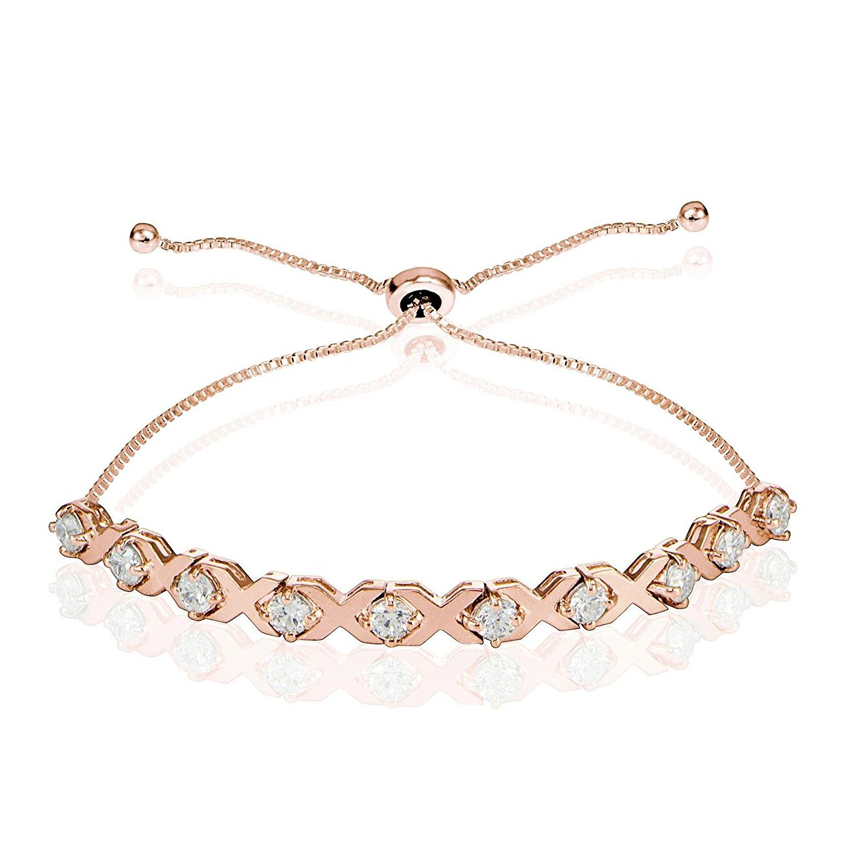 YAZILIND Gold Plated Adjustable Link Bracelet Multicolor Cubic Zirconia Beads Bracelet for Women Girls