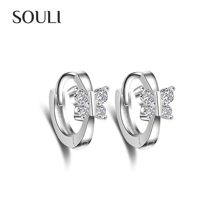 Wholesale Jewelry Earring Butterfly Platinum Plated Stud Hoop Earrings with Zircon