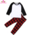 Wholesale Monogrammed Cute Lovely Red black Blank Cotton Family Christmas Pajamas